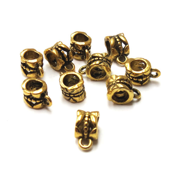 Iron Spacer Bead with Loop, Antique Gold; 10pcs