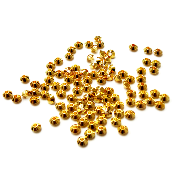 Bicone Spacer Beads, Gold Plated Brass-4mm; 100pcs