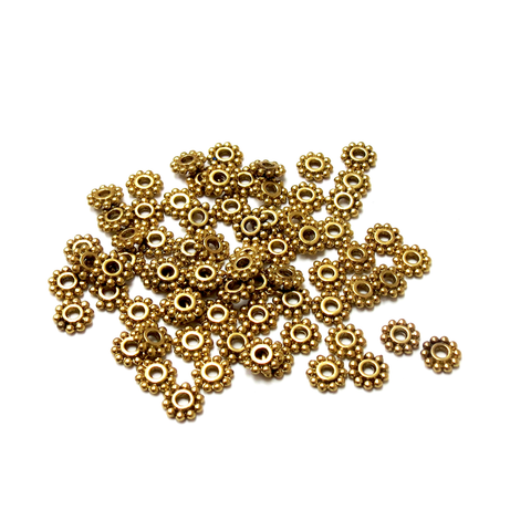 Daisy Spacer Beads, Antique Gold, 7mm; 100 pieces