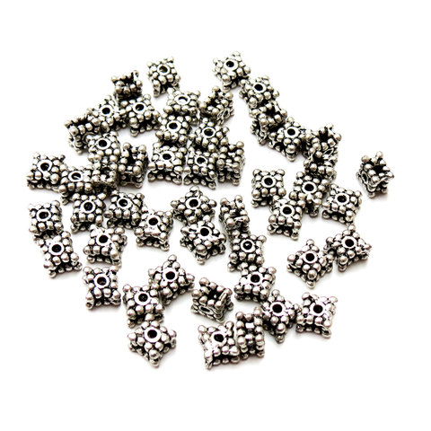 Square Spacer Beads, Antique Silver- 4x5mm; 50pcs