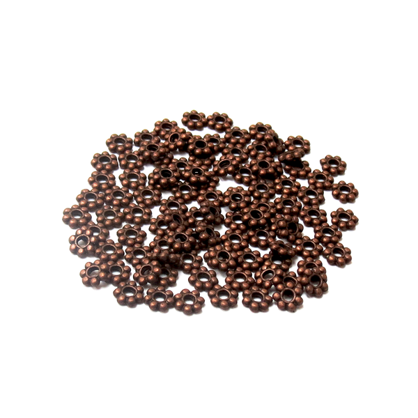 Daisy Spacer Beads, Copper-4mm; 100 pieces