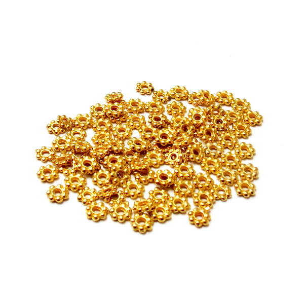 Daisy Spacer Beads, Gold, 4mm; 100 pieces