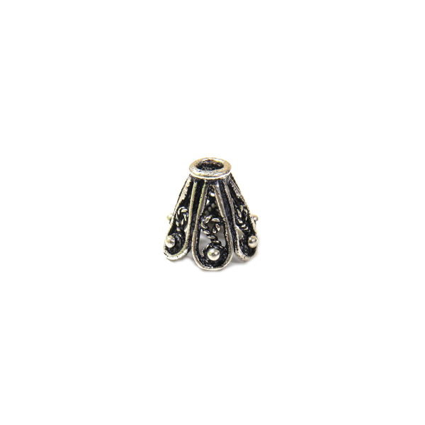 Medium Fancy Cone Shaped End Cap, Sterling Silver, 8x9mm - 1 piece