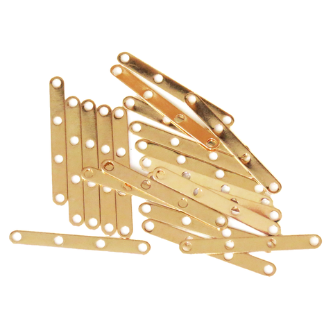 Spacer Bar, Gold Plated Brass- 3x27mm, 4 Strands; 20 pcs