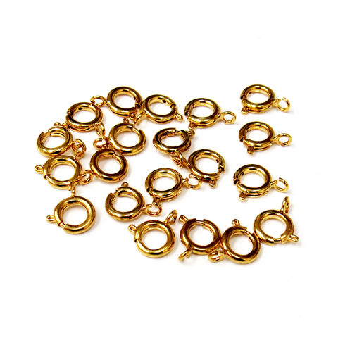 Springring Clasp Med., Gold Plated Brass-10mm; 20pcs