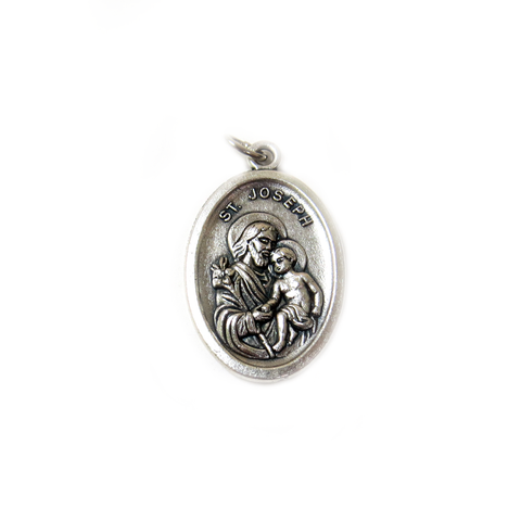 Saint Joseph Italian Charm, Antique Silver, 25x16mm - 1 piece