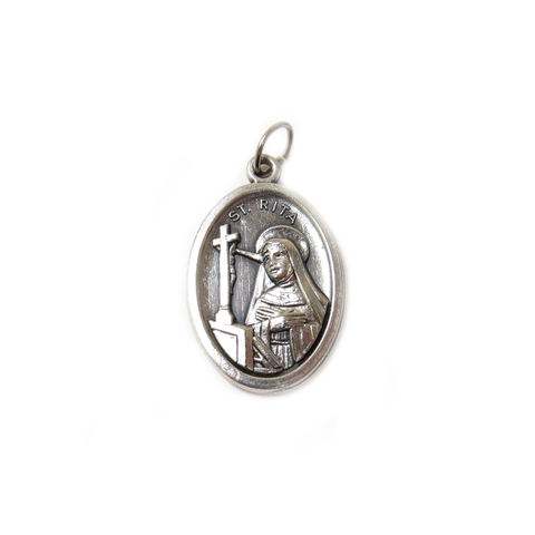 Saint Rita Italian Charm, Antique Silver, 25x16mm - 1 piece