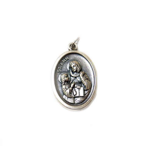 Saint Ann Italian Charm, Antique Silver, 25x16mm - 1 piece