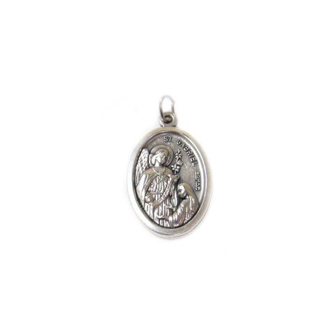 Saint Gabriel Italian Charm, Antique Silver, 25x16mm - 1 piece