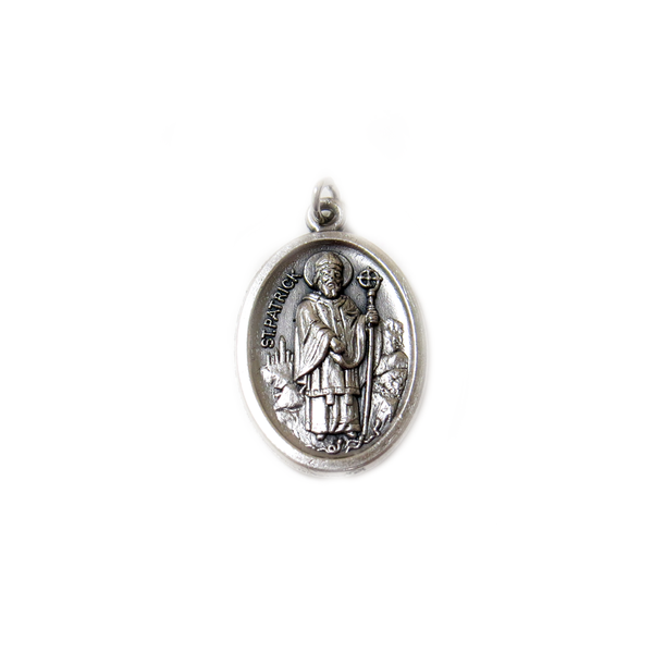 Saint Patrick Italian Charm, Antique Silver, 25x16mm - 1 piece