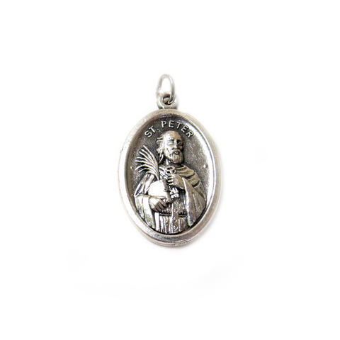 Saint Peter Italian Charm, Antique Silver, 25x16mm - 1 piece