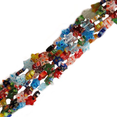 Star Millefiori, Multicolor, 9mm; 1 strand