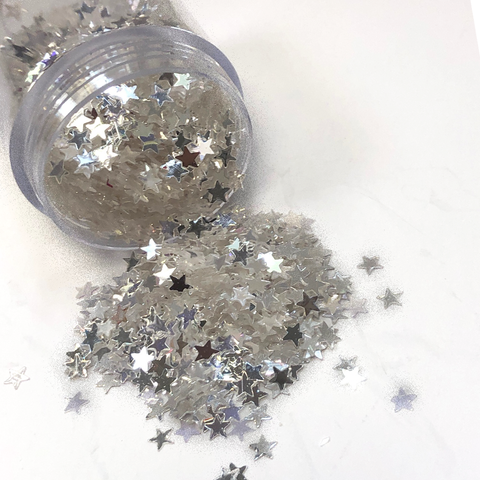 Star Shaped Silver Glitter; 12 grams