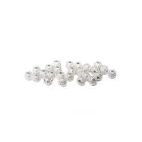 Stardust Spacer Bead, Silver Plated-4mm; 25pcs