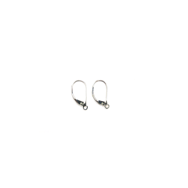 Plain Lever Back, Sterling Silver, 10x15mm; 1 pair