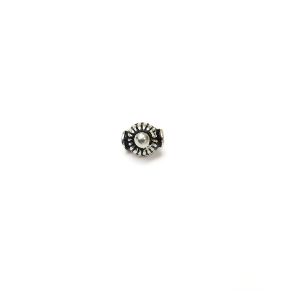 Tibetan Style Flower Spacer, Sterling Silver, 6mm; 1 piece