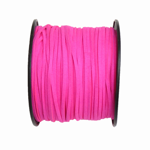 Suede Cord, 3mm-Neon Pink; per yard