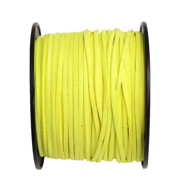 Suede Cord, 3mm-Neon Yellow; per yard