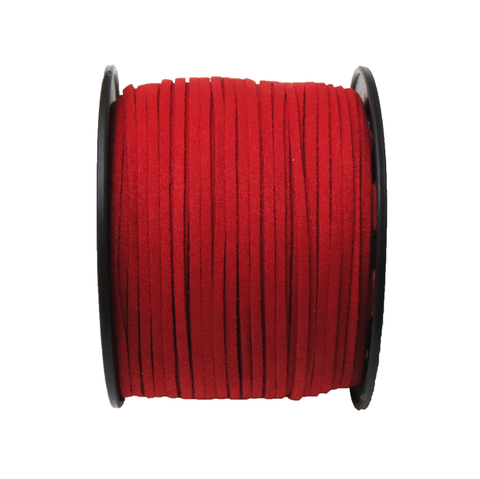 Suede Cord, 3mm- Red; per yard