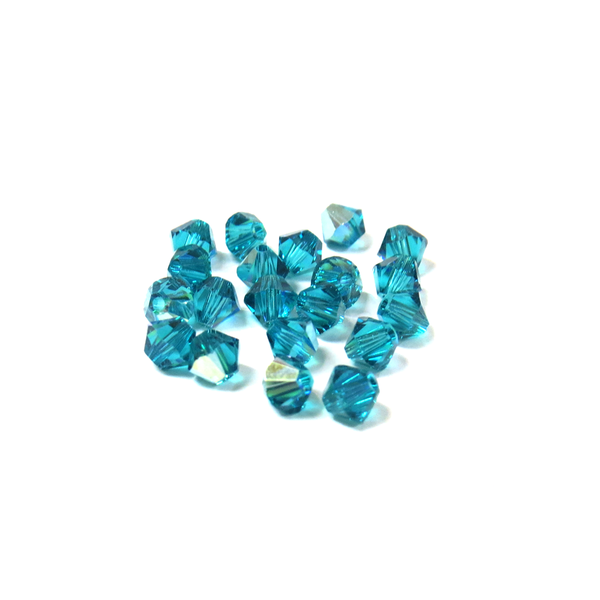 Swarovski Crystal, Bicone, 4mm - Blue Zicorn AB; 20 pcs
