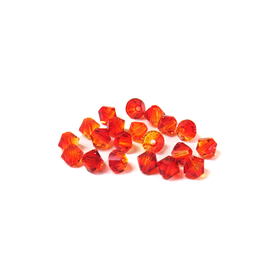 Swarovski Crystal, Bicone, 4mm - Fire Opal; 20 pcs