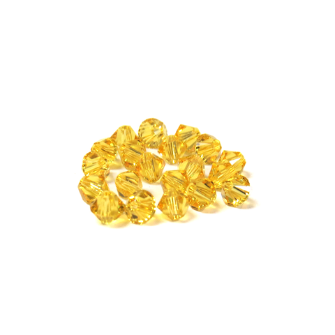 Swarovski Crystal, Bicone, 4mm - Light Topaz; 20 pcs