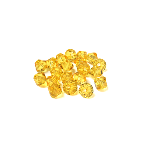 Swarovski Crystal, Bicone, 5MM - Light Topaz; 20 pcs