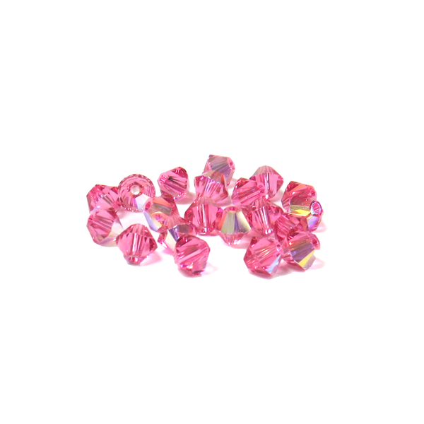 Swarovski Crystal, Bicone, 5mm - Rose AB; 20 pcs