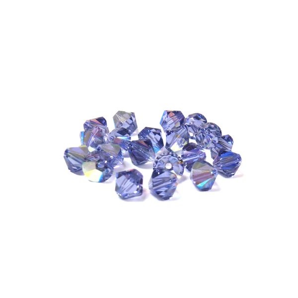 Swarovski Crystal, Bicone, 6mm - Tanzanite AB; 20 pcs