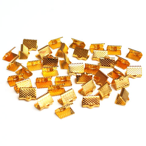Iron Ribbon Ends, Gold Plated-7x5mm; 40 pcs