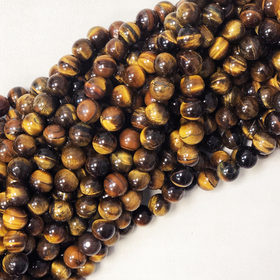 Ojo de tigre / Tiger Eye Beads, 12mm - 1 strand