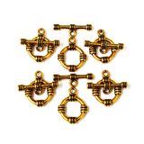 Toggle Clasp Tibetan Style, Antique Gold-15mm; 6pcs
