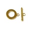 Toggle Clasp, Smooth Round Gold Plated Brass-15mm; 2pcs