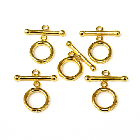 Toggle Clasp Flat, Gold Plated Brass-12mm; 5pcs