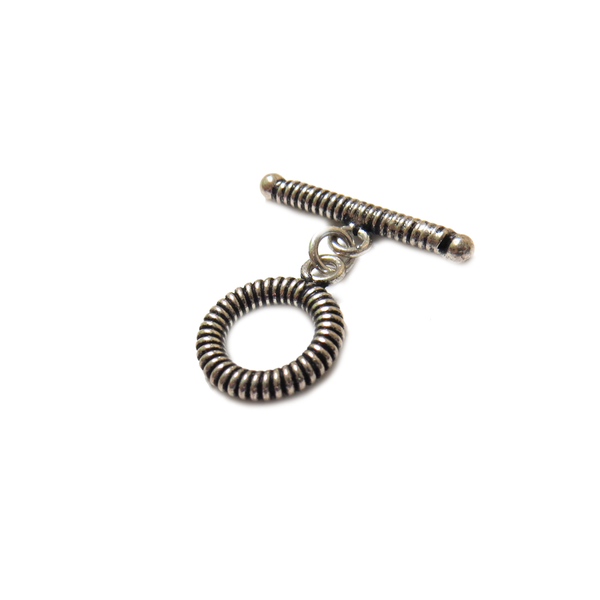 Stripes Toggle Clasp, Sterling Silver, 13mm - 1 piece