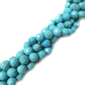 Round Faceted Turquoise Bead, 12mm - 1 strand