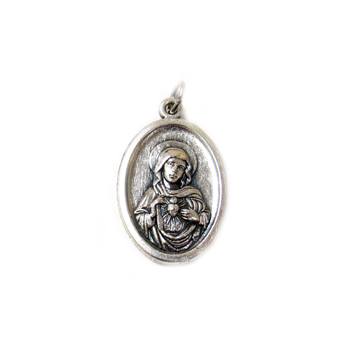 Virgin Mary Italian Charm, Antique Silver, 25x16mm - 1 piece