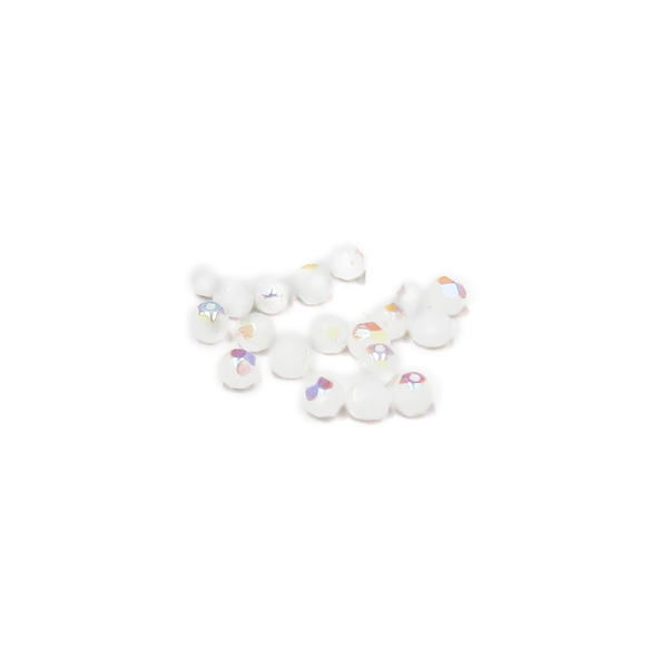 White AB, Round Faceted Fire Polished, 6mm-20pcs