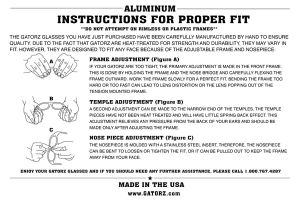Gatorz adjusting manual