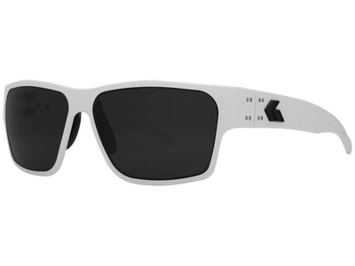 White Cerakote / Blackout Logo / Smoked Polarized