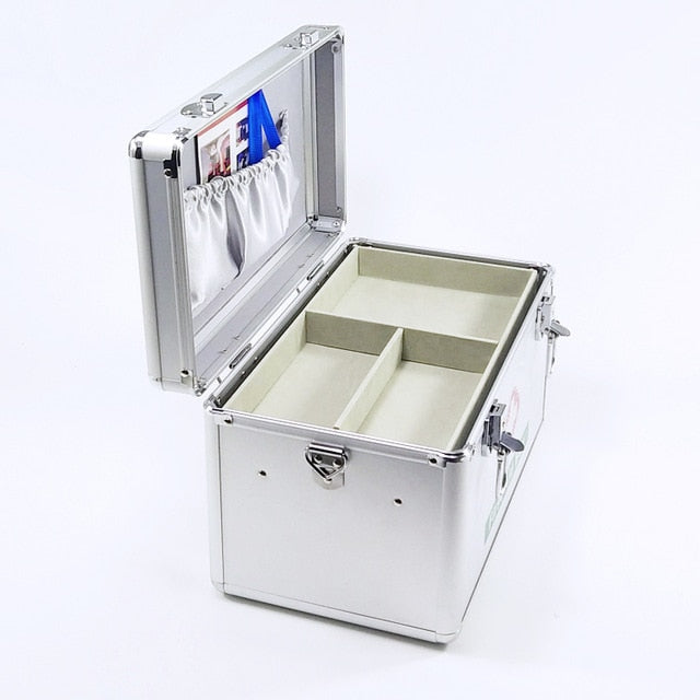 Lockable First Aid box Security Lock Medicine Storage with Portable Handle