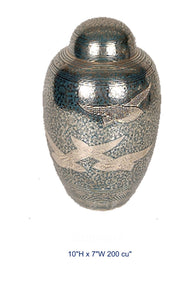 BRASS URN - GOING HOME - TURQUOISE - Caskets Warehouse