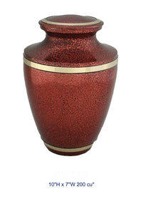 BRASS URN - RED & BLACK FLAKES - Caskets Warehouse
