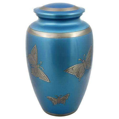 BLUE ENGRAVED BUTTERFLY BRASS URN - Caskets Warehouse
