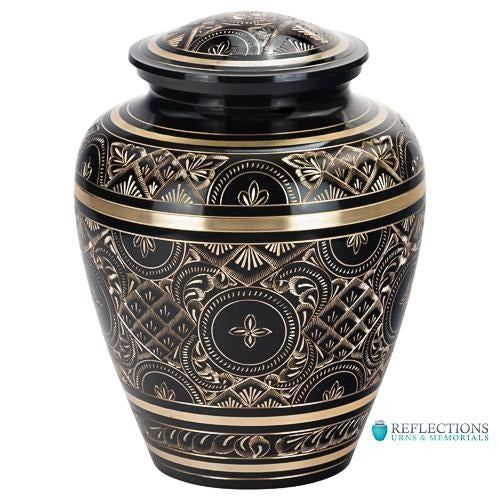 BLACK ELEGANCE BRASS URN - Caskets Warehouse