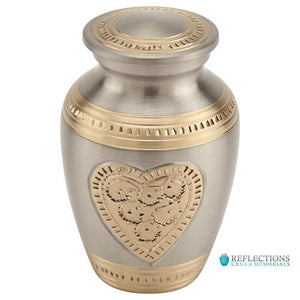 EMBOSSED HEART BRASS KEEPSAKE URN