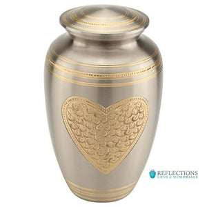 EMBOSSED HEART BRASS URN - Caskets Warehouse