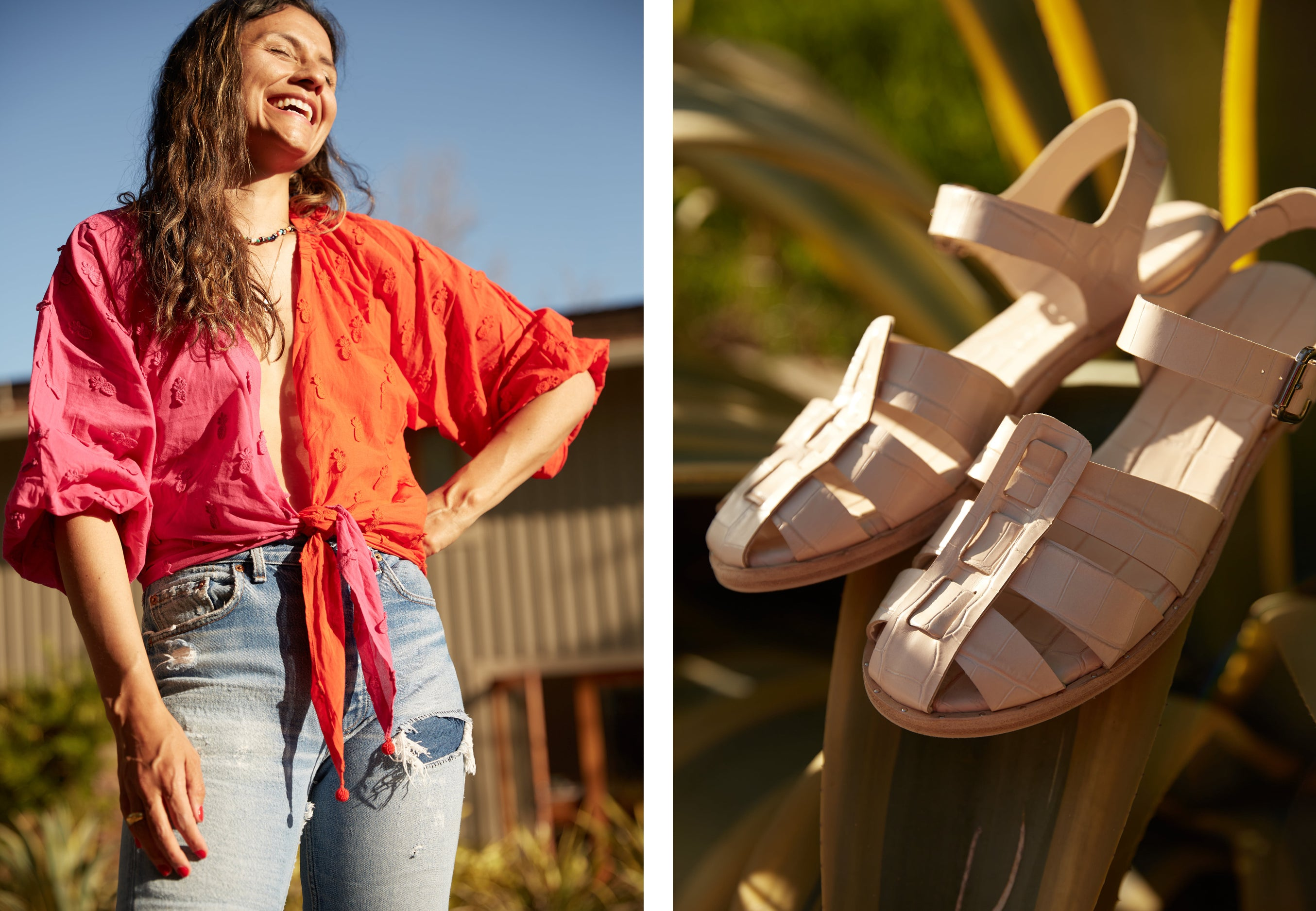 Photographer and Frēda Woman Pricilla Gragg shot at her home in the SERA sandal - her go-to pick for Spring!