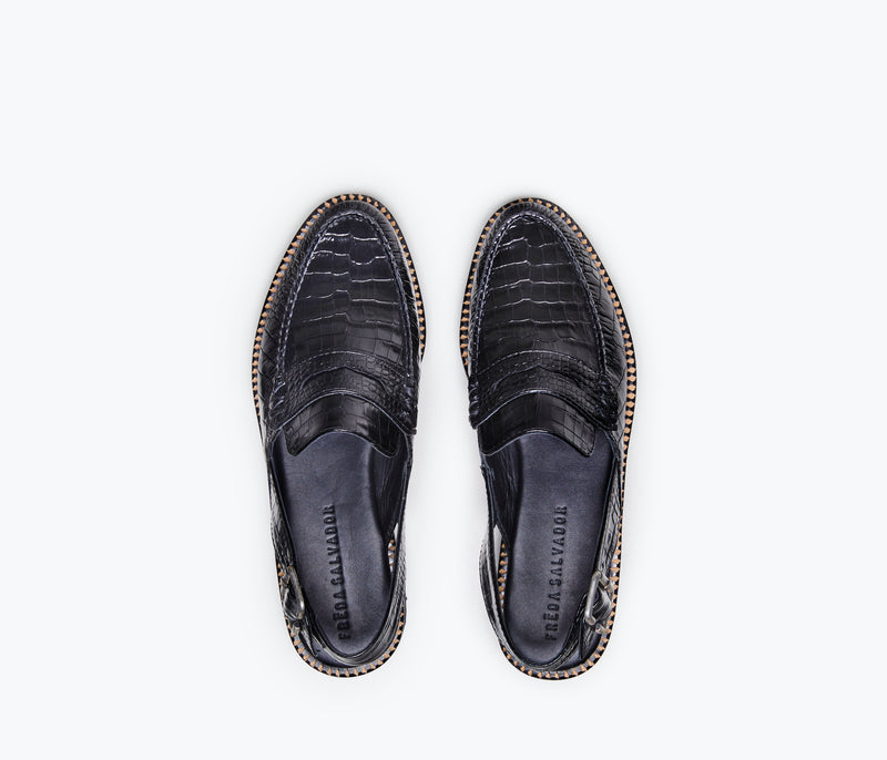 JUANA - Black Embossed Croc, [product-type] - FREDA SALVADOR Power Shoes for Power Women