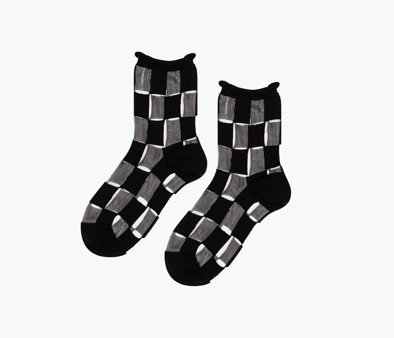 SHEER CHECKER SOCK, [product-type] - FREDA SALVADOR Power Shoes for Power Women